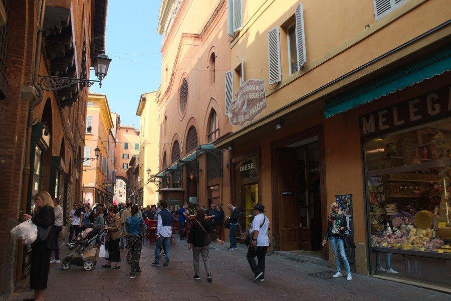 warm toned street bologna italy