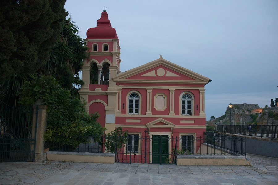 pink church corfu greece